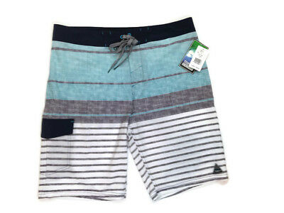5f54521621136 Trinity Board Shorts Mens 34 Blue Black Gray Stripe Swim Trunks Swimwear  New $40