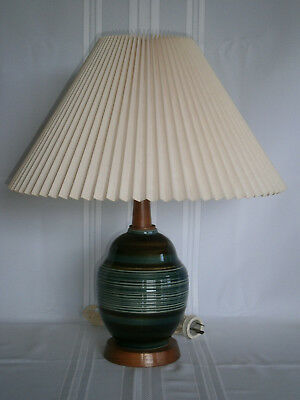 Retro Vintage Pottery & Teak Table Lamp with Material Shade 1960-70's
