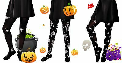 Trick or Treat Halloween fancy party girl's pattern opaque tights 6-16 years