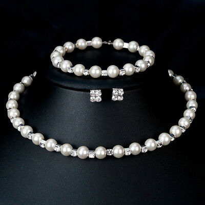 Fashion Rhinestone Crystal Pearl Bridal Jewelry Set Necklace and Earring