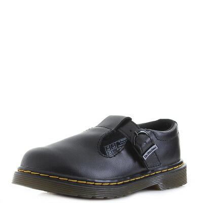 Girls Junior Dr Martens Polley Black T Lamper Mary Jane School Shoes Size