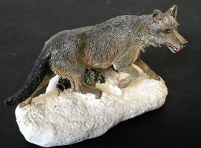 SUPERBE LOUP EN CHASSE CANIS LUPUS THE FRANKLIN MINT 1987 Collection de loups