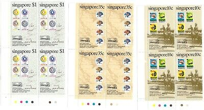 "Singapore, 1983, International Stamp Exh."" Block Of 4 Stamp Sets, Mint Nh Fresh"