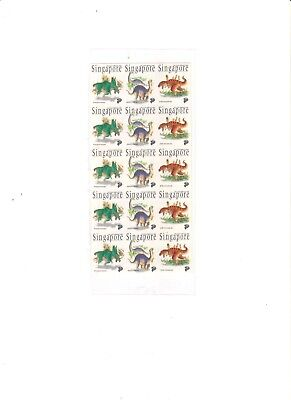 "Singapore, 1993, ""singapore - Dinosaurs"" 15 Stamps Mint Nh Fresh Good Condition"