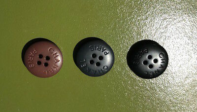 Vintage Chanel 3 Plastic Buttons in Miscellaneous Colors Mixed Lot