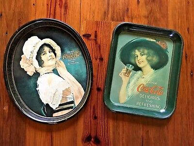 Two Vintage VTG Old Antique Coca Cola Coke Serving Trays 1970s Nice!
