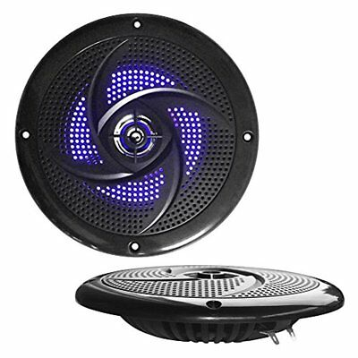 Waterproof Rated Marine 180-Watt LED Speakers, Low-Profile Pair, 5.25''-inch