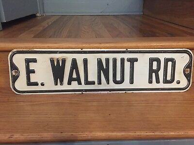 "Mid-century E WALNUT RD. metal vintage antique street sign 24""x6"""