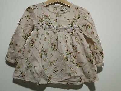 Great Condition Baby Girl 18-24 Months Pink Floral Smart Blouse From Next