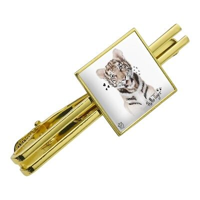 Graphics and More Persian Kitten Cat Black White Square Tie Bar Clip Clasp Tack Silver or Gold