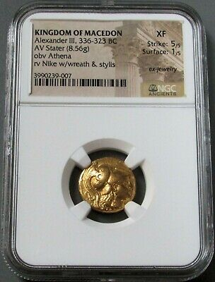 336 Bc Gold Macedon Stater Alexander Iii Ngc Extra Fine 5/1