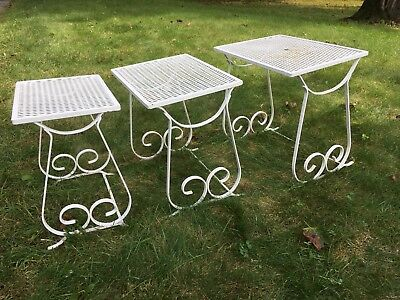Mid Century Set 3 Wrought Iron & Mesh Nesting Side Tables Patio-Local Pickup