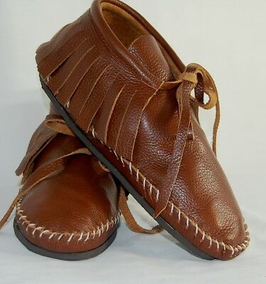 Leather Brown Soft Moccasins men's low boot fringe Indian lace Pawnee all szs