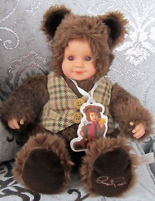 Anne Geddes Baby Bear Boy With Plaid Vest Doll Teddy Plush Doll Stuffed 12 Inch