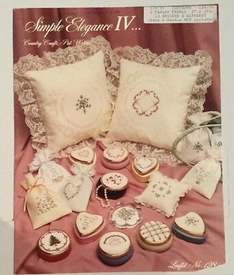 Simple Elegance Country Crafts Embroidery Patterns Pillows Trinket Box Sachets