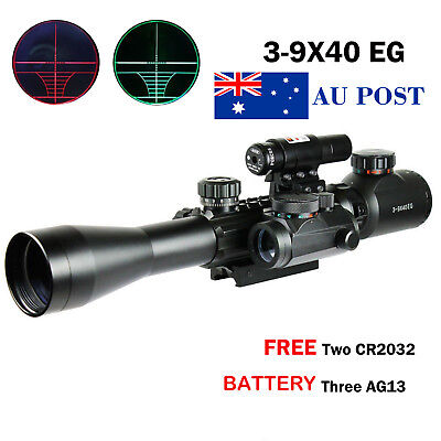 3-9X40 Illuminated Tactical Scope+Red Laser Sight+Holographic Dot Sight Battery