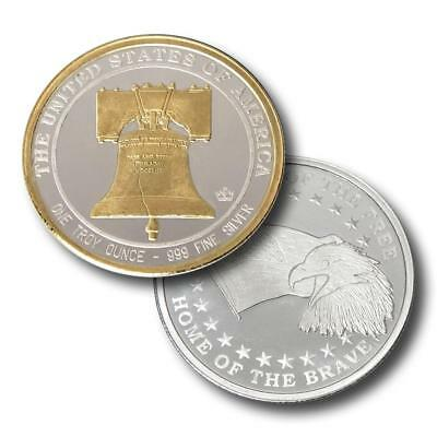 5 - 1 oz. 999 Fine Silver Rounds- Liberty Bell- 24 K Gold Detail- BU- in Capsule