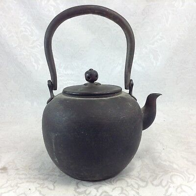 Small Antique Japanese Teapot Copper Textured Patterned Sides