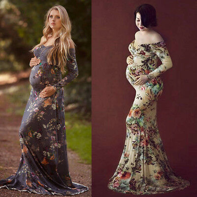Floral Gown Maternity Maxi Dress Wedding Party Dresses Photography Prop Clothes