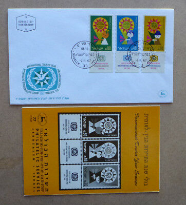 1967 Israelinternational Tourist Year 3 Stamps W/- Tab & Insert First Day Cover