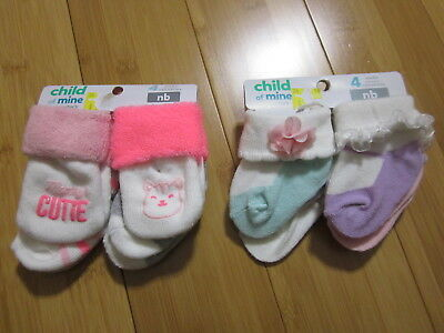 LOT 8 pairs of BABY GIRL socks NB NEWBORN  Child of Mine by Carter's NEW