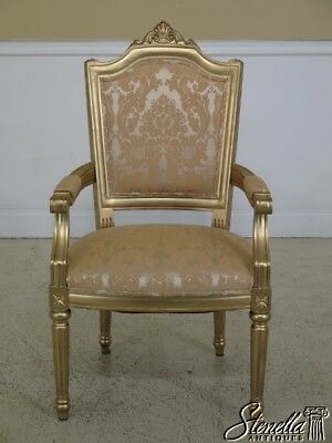 45366EC: French Louis XV Style Gold Decorated Open Arm Chair