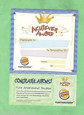 #D8. BURGER KING ACHIEVER AWARD - NO NAME ie NOT AWARDED