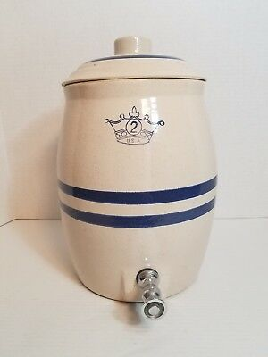 Vintage Stoneware Water Cooler Crock Robinson Ransbottom 2 Gallon with Lid