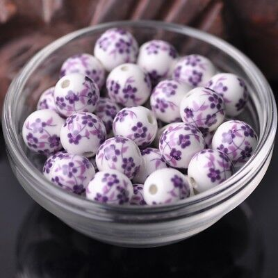 NEW 20pcs 12mm Round Ceramic Smooth Flower Pattern Loose Spacer Beads  #28