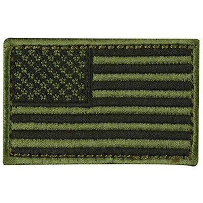 """US American Flag Patch OD Green tactical - 3""""x2"""" Inch Hook and Loop backing"""
