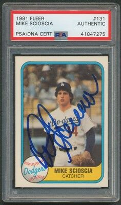 1981 Fleer Mike Scioscia Dodgers Rookie Autograph Signed Card #131 Psa/dna