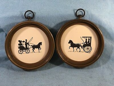 Pair of 2 Vintage VICTORIAN STYLE Round SILHOUETTE Pictures HORSE & CARRIAGE