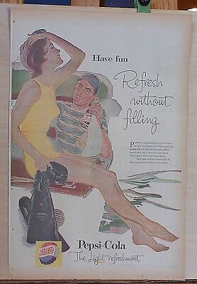 1957 full page color newspaper ad for Pepsi - diver on boat, Have Fun