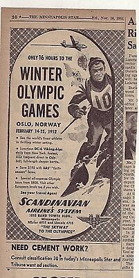 1951 newspaper ad for SAS airlines -Only 16 hours to '52 Winter Olympics in Oslo