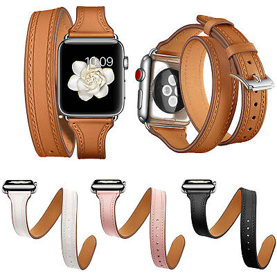 Elegant Double-Tours Leather Band for Apple Watch Series 4 3 2 1 Strap Wristband