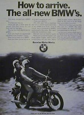 BMW Original Motorcycle Ad 1970 HOW TO ARRIVE