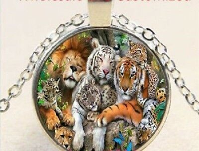 5 Tiger Pendant Charms Tiger or Leopard Head Charms Antique Silver 24x31 3161