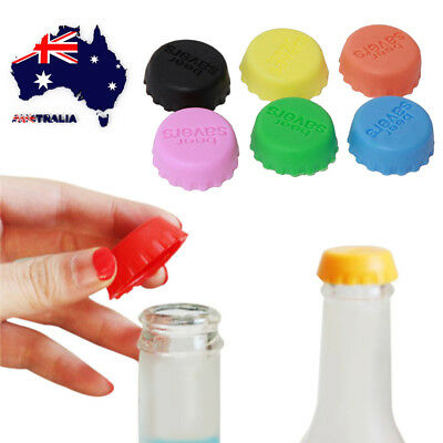 AU 6pcs Silicone Wine Beer Top Bottle Cap Reusable Stopper Drink Saver Sealer