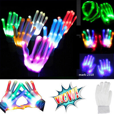 Flashing RGB LED Finger 7 Colors Glove Light Up Halloween Xmas Dance Party Stage