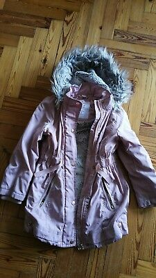 Girls Faux Fir Lined Warm Coat, Tu Superior 7-8 dusky pink, water resistant