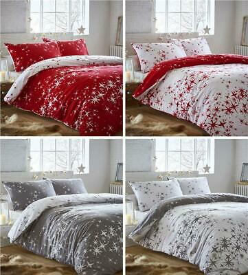 Brushed cotton quilt cover duvet sets stars red or grey flannelette bed linen