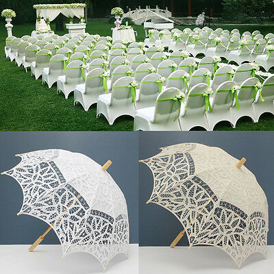 New Ivory White Lace Pure Cotton Embroidery Wedding Umbrella Bridal Parasol