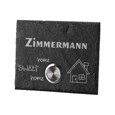 Led Doorbell of Slate Model Magpie Incl. Engraved Design Home Sweet Home