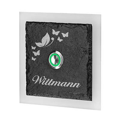 Doorbell of Slate and Acrylic Glass Model Nilgans Incl. Engraved Butterflies