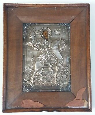 Antique Greek Orthodox Saint Menas Handpainted Silver Icon Early 1900s