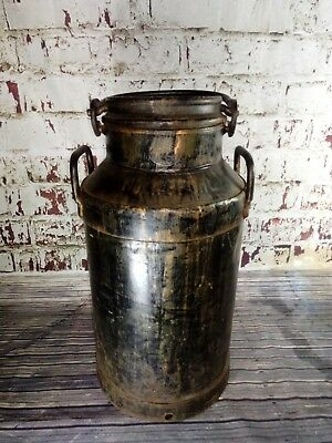 Large Vintage Milk Churn & Lid Planter Up Cycle Seat Garden Display Industrial