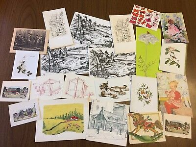 Lot of 22 Vintage Unused Notecards without Envelopes, Various Sizes and Designs