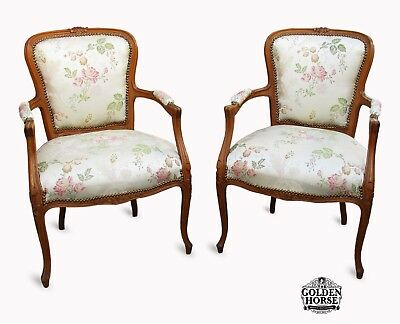 Antique French Louis XV Maple Carved Pair of Tapestry Upholstered Arm Chairs