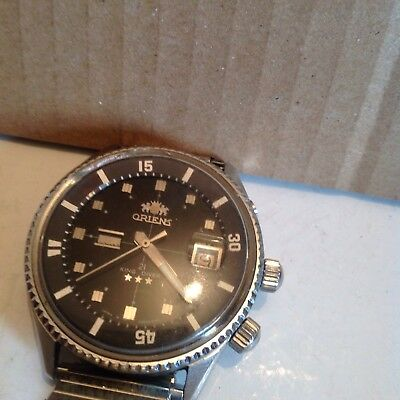 Very Large KING DIVER By Orient Black Face In Good Working Order In SS