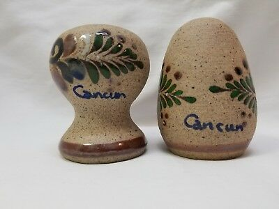 Netzi Mexico Hand Painted Sandstone Pottery Salt & Pepper Shakers Cancun